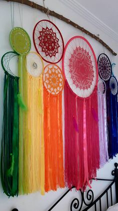 ooak dreamcatchers, dream catcher, home wall decor, boho home decor Dreamcatcher made by hand in very fine mercerized cotton yarn in colors of the rainbow feathers and beads measures 150 cm wide and 134 cm high (the branch is not sent) Home Crafts, Diy And Crafts, Arts And Crafts, Dreamcatcher Crochet, Dream Catcher Decor, Dream Catchers, Mercerized Cotton Yarn, Wall Hanging Crafts, Home Wall Decor