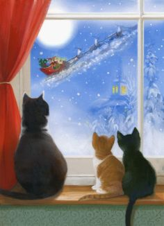 Christmas cats in window watching Santa Claus in sleigh by Lisa Alderson Christmas Scenes, Christmas Pictures, Winter Christmas, Christmas Holidays, Christmas Decorations, Christmas Kitten, Christmas Animals, Illustration Noel, Christmas Illustration