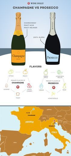 Things you Need to Know about Champagne and Prosecco #Infografía #Infographic