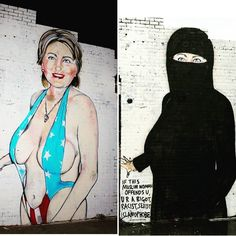 Hillary Clinton bikini mural covered with niqab after public decency complaints…