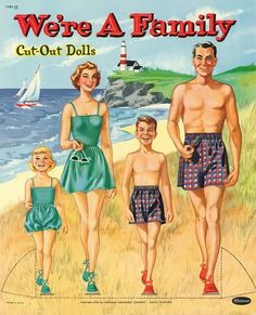 Vintage We're a Family paper dolls.