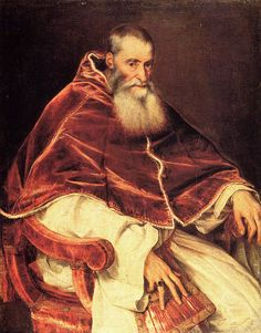 Pope Paul by Titian... NOTE: the rendering of the drapery here ~ most esp. in velvet cape!    Y v e t t e onto Art: 18th Century & Earlier