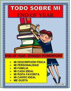 This END OF YEAR lesson is a great way to review all the Spanish I basic vocabulary learned by your students.  The project was designed to have students create a Power point about themselves all in Spanish.  They can read the Power point during presentations.