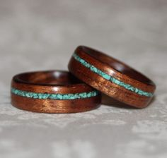 koa wood rings with turqoise