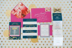 pink, navy, and gold invitation suite | Meaghan Elliot #wedding