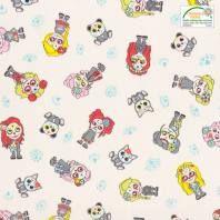 Gray, Printed Cotton, Unicorn Pattern, Teal, Child