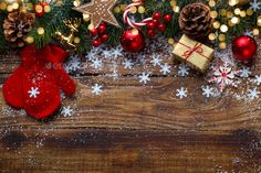 Buy Christmas and New Year background by Lana_M on PhotoDune. Christmas decorations with festive ornaments on rustic wooden background and snow, red balls, gift boxes with copy space Christmas Lanterns, Christmas Tree Decorations, Christmas Wreaths, Holiday Decor, Christmas Cover Photo, Christmas Facebook Cover, Christmas And New Year, Christmas Time, Xmas