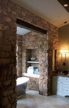 Stone Bathroom Designs good neighbors: a natural home on montana's flathead lake | truck