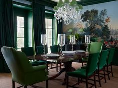 Shades of green inspired by the antique Zuber wallpaper surround diners in this formal living room by Nancy Braithwaite. Photo by © Simon Upton/Rizzoli New York dining room scenic mural