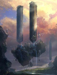 CdJ Cidade Torres fantasy and sci-fi illustrations from Park Jong Won Fantasy City, 3d Fantasy, Fantasy Kunst, Fantasy Places, Fantasy Setting, Fantasy World, Fantasy Artwork, Fantasy Concept Art, Environment Concept Art