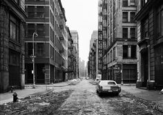 """Crosby Street, Soho, 1978 by Thomas Struth (Metropolitan Museum-- Gift of Henry S. Hacker, [What Crosby Street looked like before gentrification--before Soho became """"SoHo""""] New York Street, New York City, Musée Guggenheim Bilbao, Christophe Jacrot, Andreas Gursky, Stephen Shore, Famous Photographers, Expositions, Urban Life"""