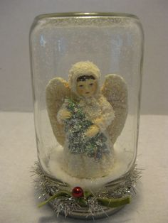 Snow Globe Mason Jar Waterless With Victorian Angel by OverForty, $15.00