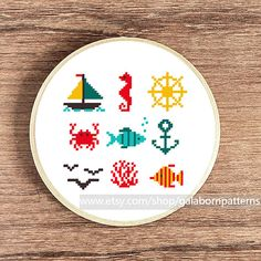Tiny PDF cross stitch patterns - Set of 9 - Nautical - Sea - Underwater life - Boat Seahorse Nautical wheel Crab Fishes Anchor Coral Seagull