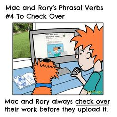 Phrasal verb: to check over Adverbs, Prepositions, Grammar Reference, English Grammar For Kids, Future Tense, Grammar Rules, Past Tense, Homeschool, Learning