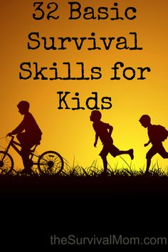 32 Basic Survival Skills for Kids – Survival Mom How many basic survival skills does your kid have? This list of 32 basic skills is useful anywhere, and definitely not focused on major disasters. Survival Gadgets, Survival Supplies, Survival Food, Camping Survival, Outdoor Survival, Survival Knife, Survival Prepping, Emergency Preparedness, Survival Hacks