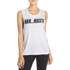 Private Party 'Nah...Maste' Muscle Tank ($52) ❤ liked on Polyvore featuring tops, white, night out tops, party tanks, sleeveless tank, white singlet and white tank