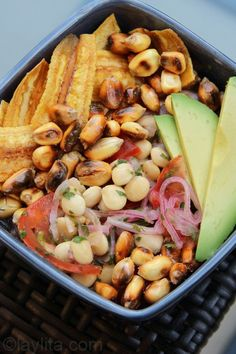 Vegetarian Ceviche de Chocos (Lupini) with Plantain and Avocado