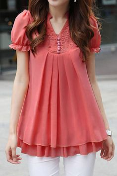 Stand Collar Short Sleeves Lace Splicing Solid Color Sweet Style Chiffon Women's BlouseBlouses   RoseGal.com