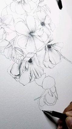 Rose Flower Sketch, Flower Sketch Pencil, Flower Art Drawing, Flower Drawing Tutorials, Flower Sketches, Floral Drawing, Art Drawings Sketches Simple, Doodle Drawings, Drawings Of Flowers