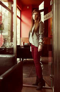 burgundy trousers Pani Mruk