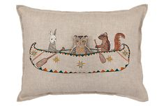 Find Friends Canoe Pocket Pillow and more decorative pillows at Coral and Tusk. Shop from the best embroidered linen accent pillows to add style and comfort to your home. Sewing Pillows, Wool Pillows, Handmade Pillows, Decorative Pillows, Decorative Accents, Hand Embroidery, Machine Embroidery, Coral And Tusk, Natural Pillows