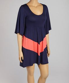 Another great find on #zulily! Navy & Coral Chevron Scoop Neck Dress - Plus by J-MODE #zulilyfinds