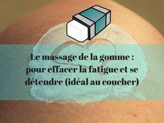 Le massage de la gomme consiste à utiliser les mains comme une gomme. On demandera à l'enfant de s'installer sur le ventre et on lui dira qu'on va gommer sa fatigue avec nos mains. Un massage idéal pour préparer le sommeil