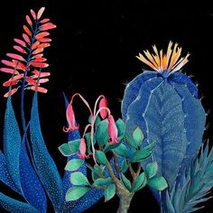 Laura Garcia Serventi 'is on the blog today. This is Night Succulents'  Shop the feed from our profile or to read more about Laura visit http://theartfolk.com/2016/07/01/laura-garcia-serventi/ ⠀ ⠀ #succulent #art #affordableart #botanicalillustration⠀ #lo