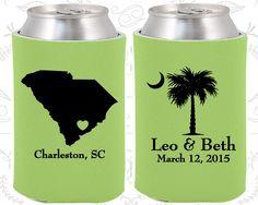 Palmetto Tree, Wedding Gift Ideas, Crescent Moon, South Carolina Palmetto, Palmetto Moon, Koozies (76)