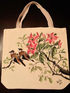 Hand-painted tote bag Tapestry - Textile  - Hand-painted tote bag Fine Art Print