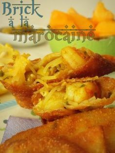 Shrimp brick with chermoula In this early Ramadhan another series of Bourek or Bri . Fish Recipes, Seafood Recipes, Appetizer Recipes, Plats Ramadan, Turnover Recipes, Ramadan Recipes, Exotic Food, Arabic Food, Pancake