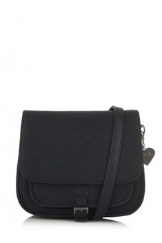 Jackie Black cross-body bag by marc b. Inspired by the saddle bag silhouette, the Jackie bag combines a clean shape with classic style - perfect for everyday wear.  Adjustable shoulder strap for cross-body wear Pewter buckle detailing Additional front pocket Convenient size, ideal for everyday wear All hardware has a pewter finish   Product Details  Interior phone slip pocket fits most popular brands Small interior zip pocket compartment for valuables Signature marc b. leopard prin...