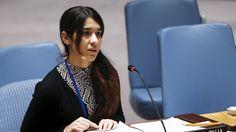 Nadia Murad Basee Taha, una iraquí de 21 años habla a los miembros del Consejo de Seguridad durante una reunión en la sede de las Naciones Unidas en Nueva York, el 16 de Diciembre de 2015.