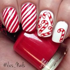 Candy Cane Nails : Wrapping Paper Stencils for Nails, Candy Cane, Christmas Nail Stickers, Nail Art, Nail Vinyls - Medium Stencils) : Beauty Christmas Nail Stickers, Cute Christmas Nails, Christmas Nail Art Designs, Xmas Nails, Holiday Nails, Halloween Nails, Candy Cane Nails, Nail Candy, Berry Nails