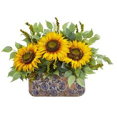 Nearly Natural Sunflower and Mixed Greens Artificial Arrangement in Ceramic Vase (As Is Item), Blue Sunflower Table Centerpieces, Sunflower Arrangements, Floral Arrangements, Sunflower Colors, Sunflower Party, Sunflower Wreaths, Lush Green, Artificial Plants, Vases Decor