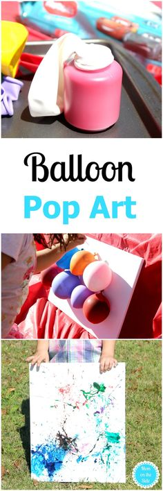 Balloon Pop Art is a fun craft for kids! This DIY art project makes for messy outdoor fun! #ad #ThinkOutsideTheWipe