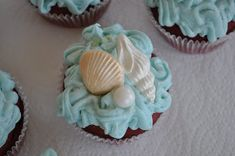 Last week I made these cupcakes for a lady who was having a seashell themed bridal shower. These were pretty easy to make, but they look . Shower Party, Bridal Shower, Seashell Cupcakes, 9th Birthday Parties, 3rd Birthday, Chocolate Candy Melts, Candy Molds, Creative Food, The Little Mermaid