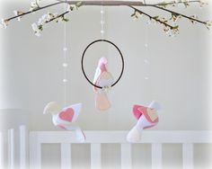 Bird mobile and cherry blossoms - You choose your colors - rose pink, white and ivory - Nursery decor - baby mobile