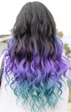 Pink ombre hair with curls hair-hair-hair-hair-lovely-hair Pink Ombre Hair, Hair Color Pink, Cool Hair Color, Purple Ombre, Blue Hair, Pastel Hair, Purple Tips, Pastel Pink, Weird Hair Colors