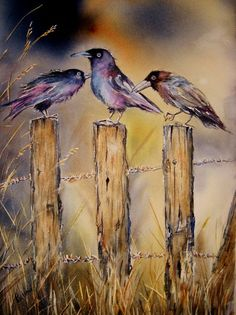 Gossip Girls raven art original watercolor bird by TivoliGardens #watercolorarts