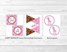 Pink Giraffe Printable Birthday Party Package | eBay