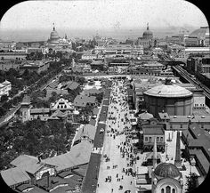 World's Columbian Exposition: Ferris Wheel, Chicago, United States, Bird's eye view from Ferris Wheel looking east; Ferris Wheel Chicago, World's Columbian Exposition, Chicago City, Chicago School, Sr1, My Kind Of Town, White City, World's Fair, Parcs
