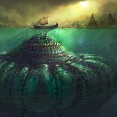 Charybdis- Greek myth: a huge female sea monster. Mythological Creatures, Fantasy Creatures, Mythical Creatures, Sea Creatures, Lovecraftian Horror, Greek And Roman Mythology, Sea Monsters, Monster Art, Horror Art