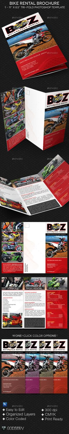 Bike Rental Brochure Template is geared for motorcycle rental, sales and motorcycle hobbyist. A great marketing tool, this templat