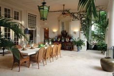 A Grand Patio room Halfway to the pool house in Bunny Williams and John Rosselli's garden in Punta Cana in the Dominican Republic, the path widens. Bunny Williams, Garden Room, Outdoor Dining, British Colonial Decor, Outdoor Decor, Colonial Style, Outdoor Rooms, British Colonial Style, Garden Design