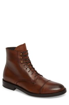 To Boot New York Men's Henri Leather Cap-toe Boots In Cuoio Leather To Boot New York, Leather Cap, Leather Shoes, Monk Strap Shoes, New York Mens, Penny Loafers, Shoe Collection, Suede Boots, Brown Boots