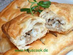 Hackfleisch-Blätterteigtaschen-ფარშის და ფენოვანი ცომის ღვეზელი.   let us cook