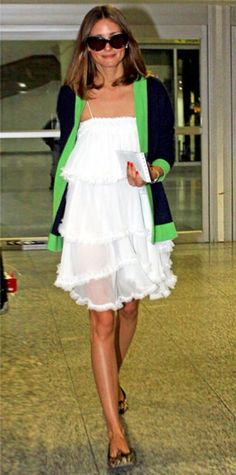 Look of the Day › June 5, 2011 WHAT SHE WORE In Rio, Palermo topped her tiered LWD with a colorblock cardigan and finished the look with ballet flats.