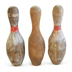 Check out this item at One Kings Lane! 1930s Wood Bowling Pins, S/3