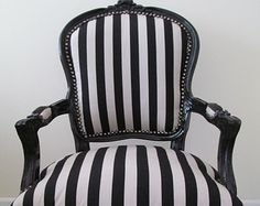 Black & White Stripe Monochrome French Shabby Chic Louis Armchair Salon Bedroom Chair
